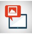 blue cartoon tablet image bubble speech vector image