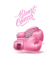breast cancer awareness pink box glove vector image vector image