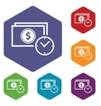 Buck time rhombus icons vector image vector image