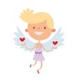 Cartoon cute cupid angel smile girl kid vector image vector image