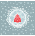 Christmas and New Year round frame with pine tree vector image vector image