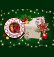 christmas card letter to santa and big cup vector image vector image