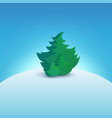 christmas tree on snowy hill vector image