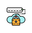 cloud lock with password data security flat color vector image