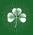 clover with three leaf - vintage engraved vector image vector image