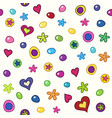 colorful pattern with candies hearts and flowers vector image