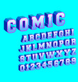 comic alphabet template letters and numbers vector image
