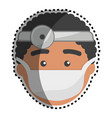 doctor with medical mask and reflector vector image vector image