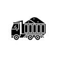 dump track with sand black icon sign on vector image