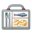 fish and pasta in case icon cartoon style vector image vector image