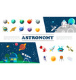 flat universe elements colorful set vector image vector image