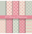 floral different seamless patterns tiling vector image