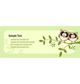 frame with cute owl and green leaves vector image vector image