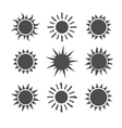 Gray sun set icons isolated on white background vector image vector image