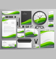 green wavy business stationery set template vector image vector image
