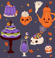 halloween food and drink seamless pattern vector image vector image