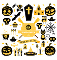 halloween pumpkin skull ghost candy cat vector image