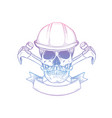hand drawn sketch skull with axes vector image vector image