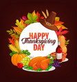 happy thanksgiving day dinner round frame vector image vector image