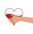 heart hand blood donation design vector image vector image