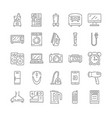 household appliances outline linear icons set vector image