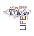level term life insurance text background word vector image vector image