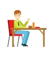Man Alone At The Table Eating Cake Smiling Person vector image vector image