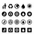 Man and bin recycling globe eco power icons set vector image vector image