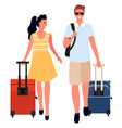 man and woman with bags travelers couple vector image vector image