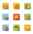 Morning breakfast icons set flat style vector image vector image