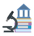 pile text books with microscope and library vector image vector image