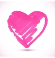 Pink isolated marker painted textured heart vector image