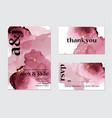pink watercolor splash wedding card art set vector image vector image
