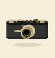 retro camera black and gold flat vector image vector image
