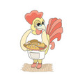 rooster baker with a tray of bread vector image vector image