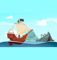 sailing pirate ship composition vector image