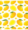 seamless pattern with cartoon mango vector image vector image