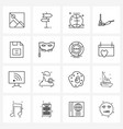 set 16 simple line icons basic document vector image vector image