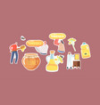 set stickers rapeseed canola oil and honey vector image vector image