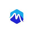 simple line polygon logo m letter logo m1 vector image vector image