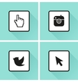 Social media icons Set Photo or camera bird vector image