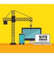 technology site under construction crane icon vector image vector image
