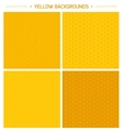Thin lined seamless patterns set in yellow color vector image