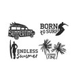 tropical surf label set for summer beach vacation vector image