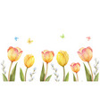 watercolor banner with tulips and vector image