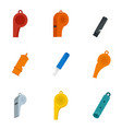 whistle coaching blow icons set flat style vector image vector image