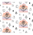 winter forest - seamless pattern with trees vector image