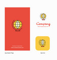 world globe company logo app icon and splash page vector image