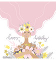 a cute girl holding bouquet flowers happy vector image