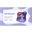 astronaut character exploring outer space cartoon vector image vector image